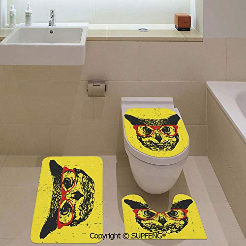 aosup Three-Piece Toilet seat pad Custom Owl with Glasses Portrait Hipster Nocturnal Animal Grunge Humor Graphic Rug + Lid Toilet Cover + Bath Mat/Non-Slip/Pedestal Digital Print Fashion Art Work