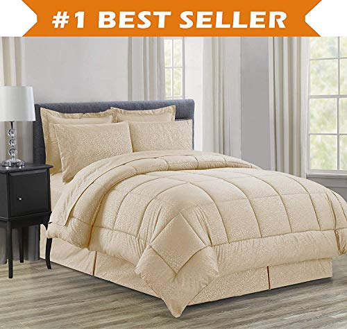 Luxury Bed-in-a-Bag Comforter Set on Amazon! chic comfort Wrinkle repellent - Silky comfortable exquisite type comprehensive Bed-in-a-Bag 8-Piece Comforter Set -Hypoallergenic- King Mocha Black Friday & Cyber Monday 2018