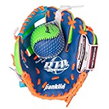 Franklin Sports Teeball Recreational Series Fielding Left Hand Glove with Baseball, 9.5-Inch, Royal/Lime/Orange