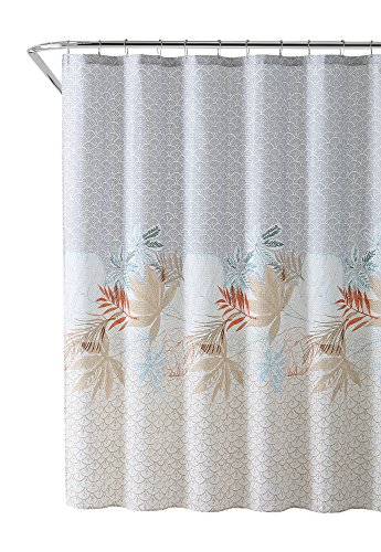 VCNY Home Fabric Shower Curtain: Tropical Leaf Pattern with Gray and Beige Scallops Design