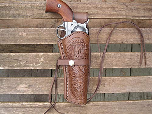 Brown Right Handed Tooled Leather Gun Holster