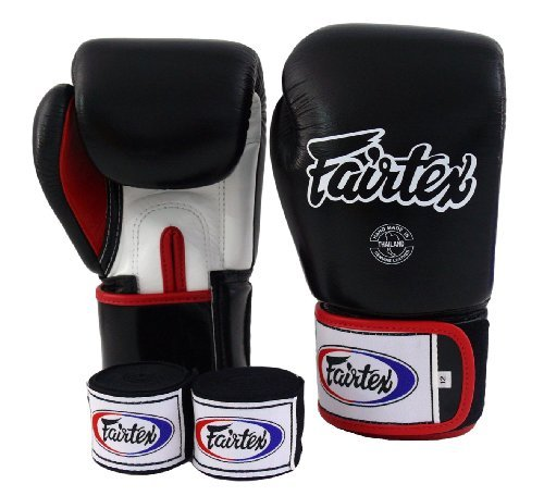 Fairtex Muay Thai Boxing Gloves BGV1 Black White Red Size : 10 12 14 16 oz Training & Sparring All Purpose Gloves for Kick Boxing MMA K1 (Black/White/Red, 16 ()