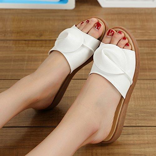 de Zapatos Zapatos Costillas Final Verano Son Gran Planas Número Zapatillas Mujeres Fresca del Verano Blancos 36 fankou Las Llevar y Carne Embarazadas Mamá en qwTBXIwx