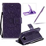 Wallet Case for Samsung Galaxy S6,Strap Flip Case for Samsung Galaxy S6,Herzzer Retro Elegant [Purple Mandala Flower Pattern] Stand Function Magnetic Smart Leather Case with Soft Inner for Samsung Galaxy S6 + 1 x Free Purple Cellphone Kickstand + 1 x Free Purple Stylus Pen