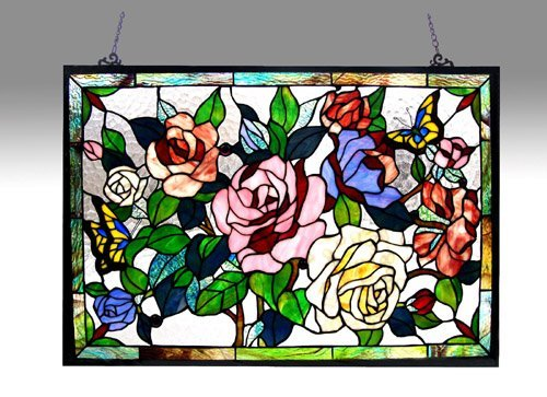 ed Glass Featuring Roses & Butterflies Window Panel 27X19 ()