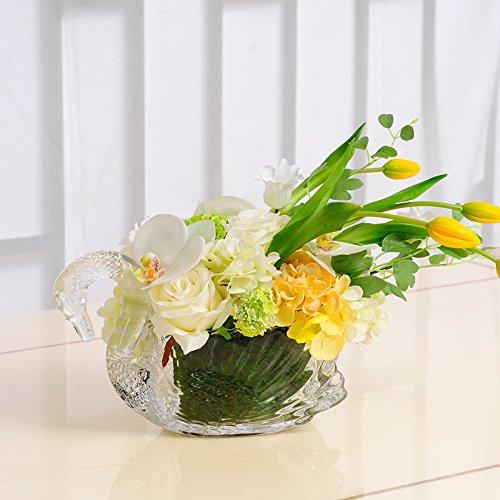 Shiqi Kunstblumen Kunstliche Blumen Glas Schmuck Set Gelb Fur