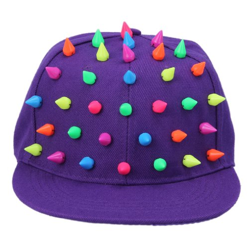 Bigood Hedgehog Colorful Spiked Punk Hip Hop Baseball Canvas Cap Hat Purple
