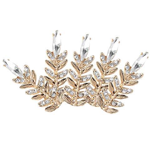 Fityle Wholesale 5PCS Clear Rhinestone Buttons Alloy Crystal Diamante Button Embellishments, Fine Leaf Brooch Pins for Wedding Women(Flatback)