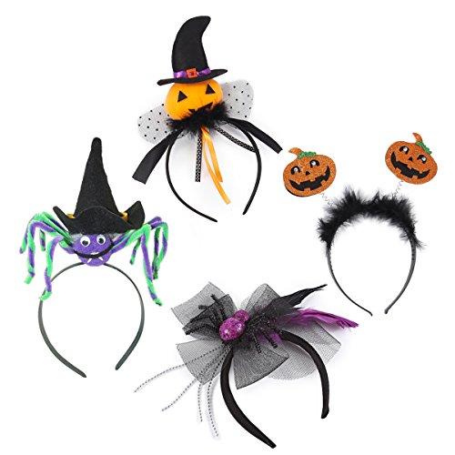 Photos Halloween Costumes (Set of 4 Halloween Pumpkin Witch Spider Headbands by Spooktacular Creations for Halloween Party Supplies, Cosplay, Photo Booth (One Size Fit)