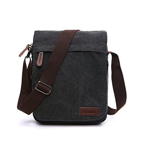 Sechunk Small Vintage Canvas Messenger Cross body bag Shoulder bag (m_Black, middle)