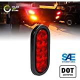"6"" Oval Red LED Trailer Tail Lights [DOT Certified] [Grommet & Plug Included] [IP67 Waterproof] Turn Stop Brake Trailer Lights for RV Jeep Trucks"