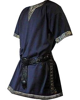 4775766ff Hombres Manga Corta Renaissance Medieval De Los Camisa Casual con Cuello En  V Disfraz