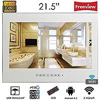 Soulaca 21.5 Waterproof Android Vanishing Mirror Bathroom 1080HD LED TV