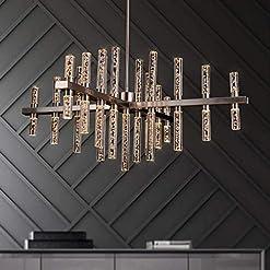 Interior Lighting MEEROSEE Modern Chandelier Lighting Led Pendant Lights Fixture with Acrylic Shade Satin Nickel Contemporary Island… modern ceiling light fixtures