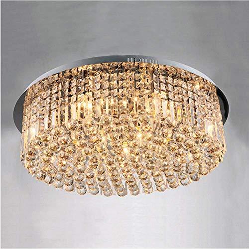 Ladiqi Crystal Chandelier Modern Flush Mount Ceiling Lights Living Room Lighting Fixture for Bedroom Dining Room