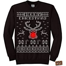 Vintage Fly Adult Light Up Ugly Christmas Sweater Rudolph The Red Nose Reindeer Pullover Sweatshirt