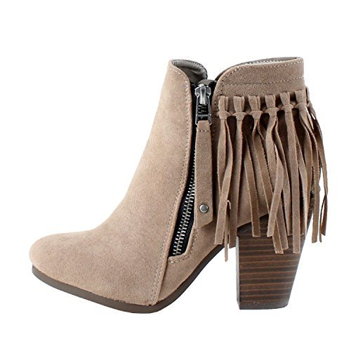 Belted Bootie - Breckelle's Gail-26 Women's Belted Chunky Stacked Heel Ankle Booties Beige 7