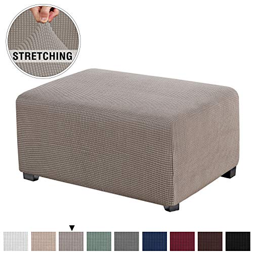 Stretch Spandex Jacquard Rectangle Folding Storage Covers Ottoman Slipcovers High Spandex Small Checks Jacquard Fabric Removable Footstool Protect Footrest Covers (Oversized Ottoman, Taupe)