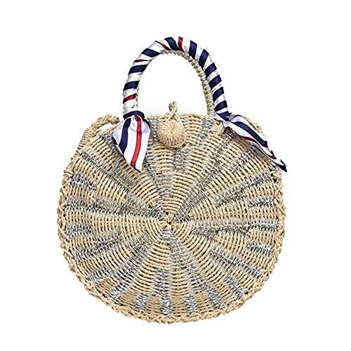 Miss Li ronde sacs de paille sac de rotin pour les femmes tissés à la main tissage Hoop argent Bohême