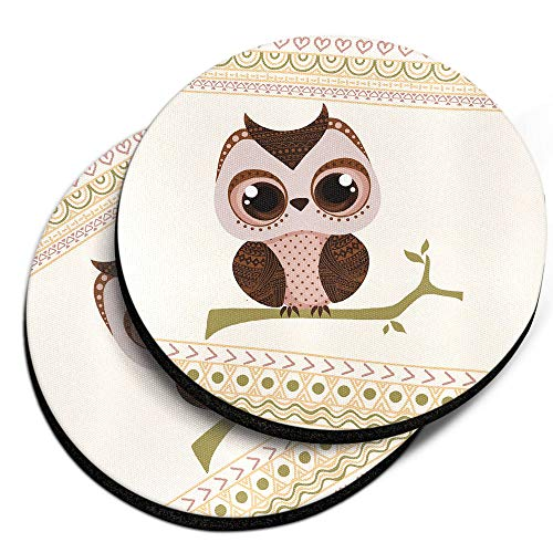 (CARIBOU Coasters, Aztec Baby Owl Design Absorbent ROUND Fabric Felt Neoprene Car Coasters for Drinks, 2pcs Set)