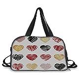 Travel handbag,Romance,Hand Drawn of Heart Figures Icons Love Valentines Wedding Theme Print,Light Coffee Black Red ,Personalized