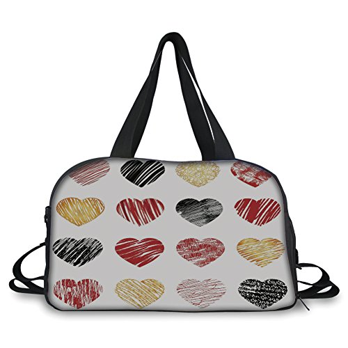 Travel handbag,Romance,Hand Drawn of Heart Figures Icons Love Valentines Wedding Theme Print,Light Coffee Black Red ,Personalized by iPrint