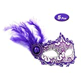 R STAR 5 Pcs Masquerade Mask for Women Venetian Masks Christmas Women Turkey Feather Hat Sparkling Masks Eye mask Cosplay Lace Mask(Purple)