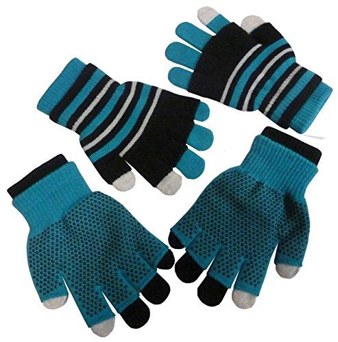 (N'Ice Caps Girls Multi Pair Magic Glove And Texter Pack (4-14yrs, turq/black/grey))