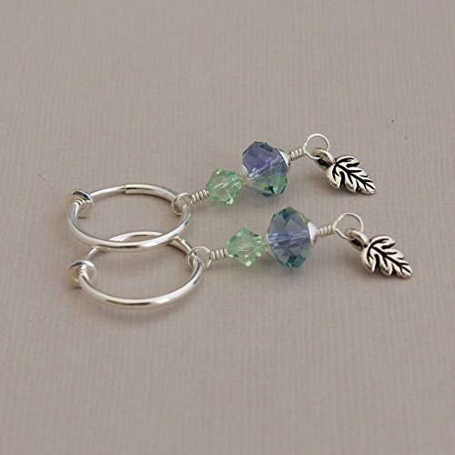Softly Shaded - clip hoop earrings pastel green and lilac