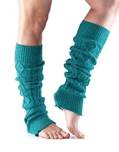 ToeSox Women's Knee High Cable Knit Leg Warmers (Forest)