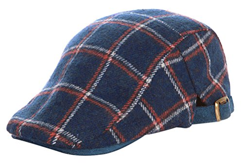 Bellady Child Kids Flat Cap Hat Gatsby Ivy Newsboy Ascot Peaked Plaid Berets,Navy- Child Size ()