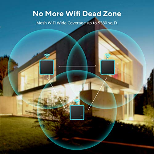 Whole Home WiFi System- Dual Band Mesh WiFi System, AC1200 High Speed Seamless Roaming WiFi Network, Replaces WiFi Router & Extender, Wide Coverage up to 5380 sq.ft, Ideal for 6+ Bedrooms Home(3 Pack)