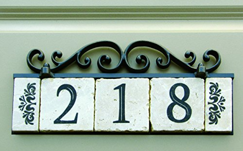 NACH KA House Address Sign/Plaque - Old World, 3 Numbers, Iron, 13 x 8 x 1'' by NACH (Image #2)