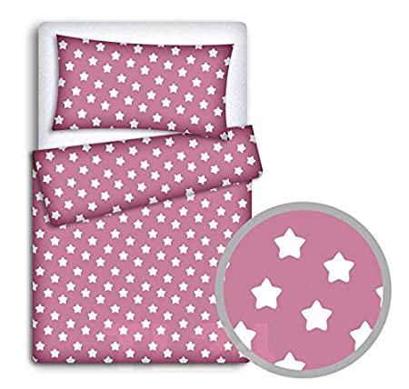 BABY BEDDING SET PILLOWCASE + DUVET COVER 2PC TO FIT BABY COT BED (White hearts on red background) Babymam