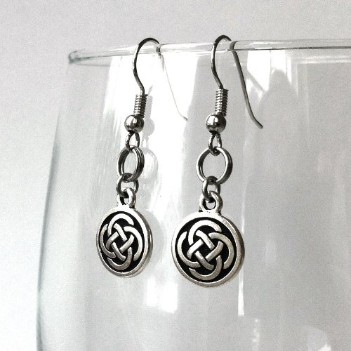 Silver Celtic Knot Earrings Hypoallergenic Stainless Steel French Hook Wires