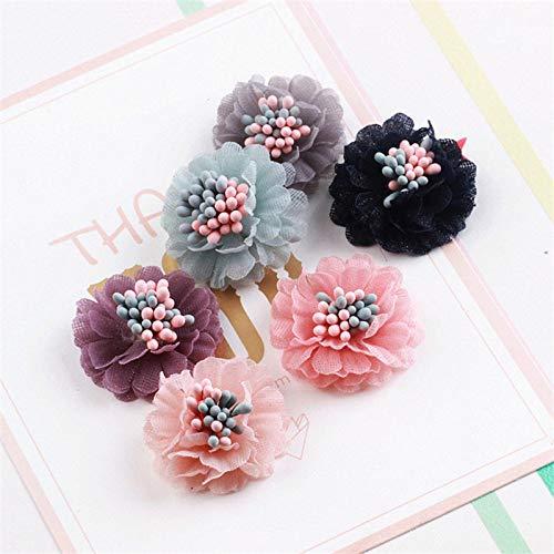 Female Spline - Women Girls Fashion Korean Chiffon Flower Flat Back Women Girls 20Pcs 30Mm Hand-Spline Patch Fit Fashion Jewelry Hair Accessories