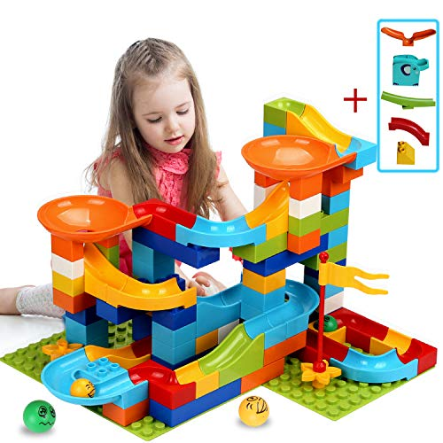 COUOMOXA Marble Run Building Blocks Classic Big Blocks STEM Toy Bricks Set Kids Race Track Compatible with All Major Brands 110 PCS Various Track Models for Boys Girls Aged 3,4,5,6,8+(Upgrade 2 in1)