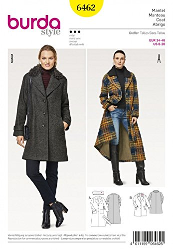 Burda Ladies Sewing Pattern 6462 Classic Blazer & Fur Collar Coats