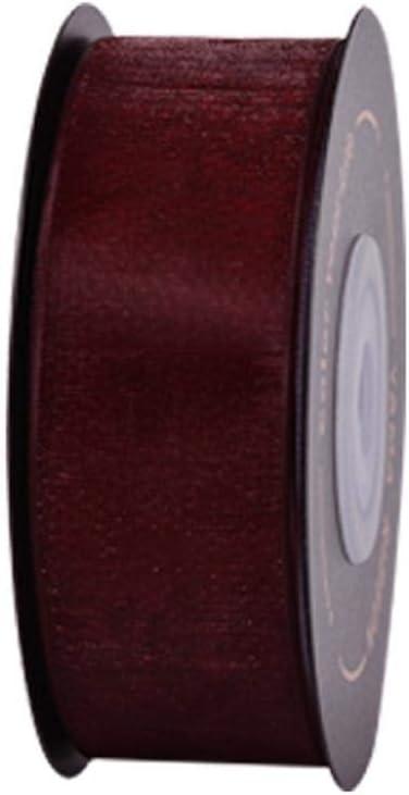 Ribbons Cinta de seda de organza transparente de 25 mm para manualidades, embalaje, boda, fiesta, bricolaje, decoración, jerez 789-25 mm