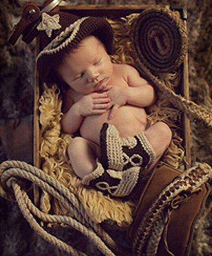 Eyourhappy Handmade Knitted Crochet Costume Baby Photography Props Western Cowboy Hat Boot