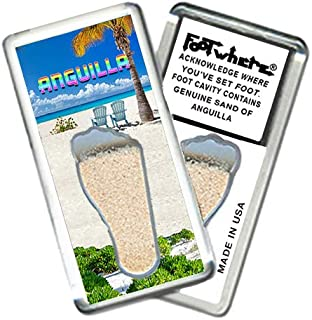 """product image for Anguilla """"FootWhere"""" Fridge Magnet (ANG204 - Chill Spot). Authentic Destination Souvenir acknowledging Where You've Set Foot. Genuine Soil of Featured Location encased Inside Foot Cavity. Made in USA"""
