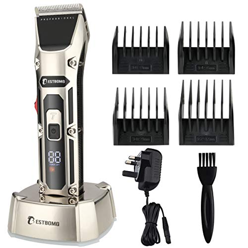 BESTBOMG F28 Pro Hair Clippers 2-Speed Cordless Beard Trimmers for Men Rechargeable LED Display Charging Base with 5 Taper Levers Adjusted 0.8-2mm,4 Guide Combs