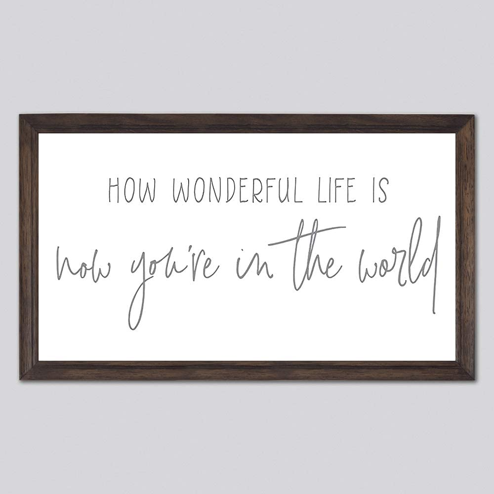 EricauBird How Wonderful Life is Now You're in The World Wood Sign, Decorative Home Wall Art, Framed Sign for Home Wedding Party Farmhouse, Personalized Housewarming Gift, 12x22