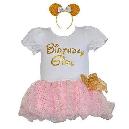 [Birthday Girl Dress Glitter Gold Lettering Gold Dot Pink Skirt & Headband Set (Large-GPH)] (Mother And Infant Daughter Costumes)
