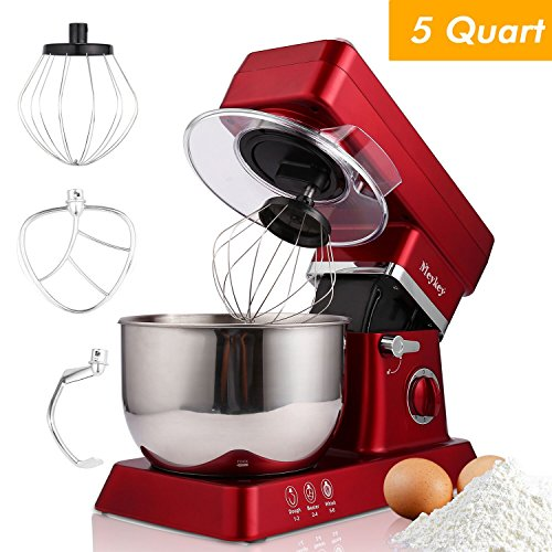 Stand Mixer, 600W Tilt-Head Kitchen Electric Food Mixer with 6-Speed Control, 5-Quart Stainless Steel Bowl, Dough Hook, Whisk, Beater, Splash Guard (red) by Hopekings