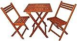 Zen Garden Eucalyptus Foldable 3-Piece Square Bistro Set, Teak Wood Finish Review