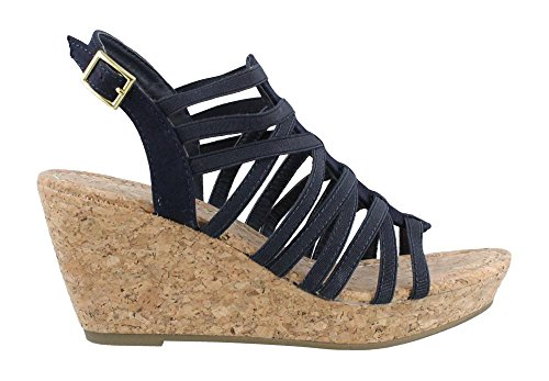 Rampage Women's Josie Cork Wedge Sandals with Strappy Upper and Slingback Buckle Closure 11 - Wedge Strappy Slingback
