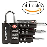 4 Pack Open Alert Indicator TSA Approved 3 Digit Luggage Locks for Travel Suitcase & Baggage (Black)