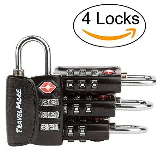 Price comparison product image 4 Pack Open Alert Indicator TSA Approved 3 Digit Luggage Locks for Travel Suitcase & Baggage (Black)