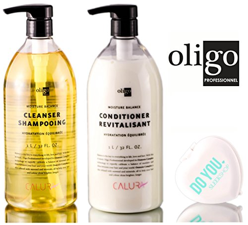 Oligo Pro Calura Moisture Balance Cleanser Shampooing & Conditioner DUO Set (with Sleek Compact Mirror) (32 oz / 1000 ml Large Liter DUO Kit) by Oligo